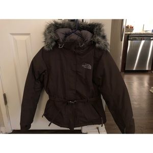 North face brown goose down jacket